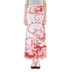 Love Heart Butterfly Pink Leaf Flower Maxi Skirts