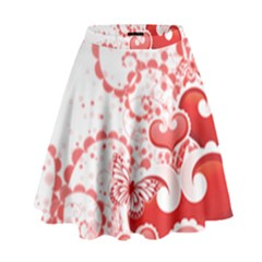Love Heart Butterfly Pink Leaf Flower High Waist Skirt