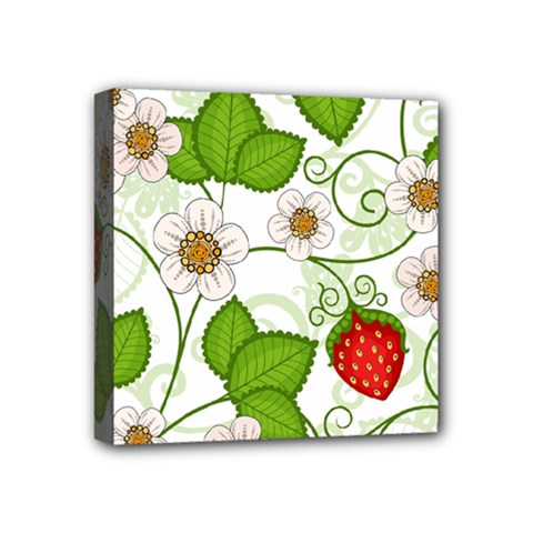 Strawberry Fruit Leaf Flower Floral Star Green Red White Mini Canvas 4  x 4