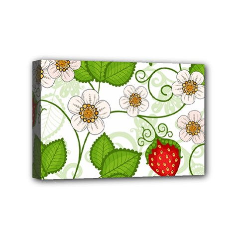 Strawberry Fruit Leaf Flower Floral Star Green Red White Mini Canvas 6  x 4