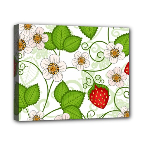Strawberry Fruit Leaf Flower Floral Star Green Red White Canvas 10  x 8