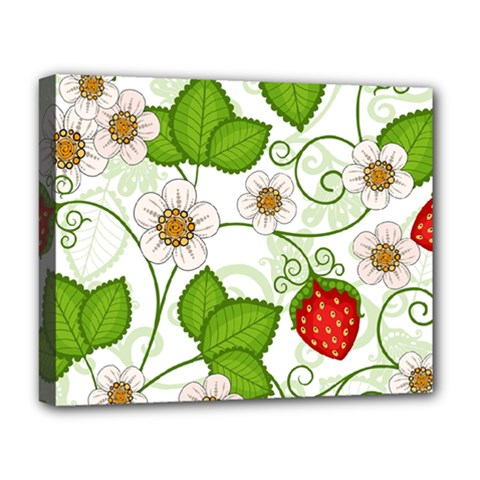 Strawberry Fruit Leaf Flower Floral Star Green Red White Deluxe Canvas 20  x 16