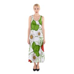 Strawberry Fruit Leaf Flower Floral Star Green Red White Sleeveless Maxi Dress