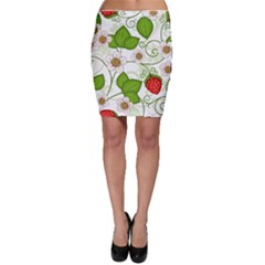 Strawberry Fruit Leaf Flower Floral Star Green Red White Bodycon Skirt