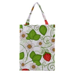 Strawberry Fruit Leaf Flower Floral Star Green Red White Classic Tote Bag