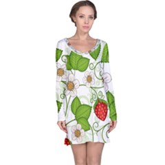 Strawberry Fruit Leaf Flower Floral Star Green Red White Long Sleeve Nightdress