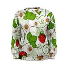 Strawberry Fruit Leaf Flower Floral Star Green Red White Women s Sweatshirt