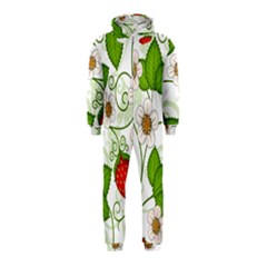 Strawberry Fruit Leaf Flower Floral Star Green Red White Hooded Jumpsuit (Kids)