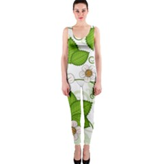 Strawberry Fruit Leaf Flower Floral Star Green Red White OnePiece Catsuit