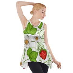 Strawberry Fruit Leaf Flower Floral Star Green Red White Side Drop Tank Tunic