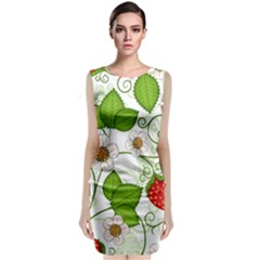 Strawberry Fruit Leaf Flower Floral Star Green Red White Classic Sleeveless Midi Dress