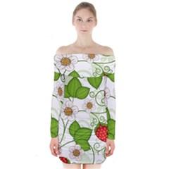 Strawberry Fruit Leaf Flower Floral Star Green Red White Long Sleeve Off Shoulder Dress