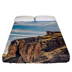 Rocky Mountains Patagonia Landscape   Santa Cruz   Argentina Fitted Sheet (Queen Size)