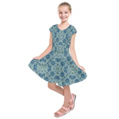 Modern Baroque Pattern Kids  Short Sleeve Dress