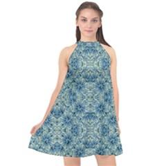 Modern Baroque Pattern Halter Neckline Chiffon Dress