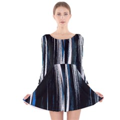 Abstraction Long Sleeve Velvet Skater Dress