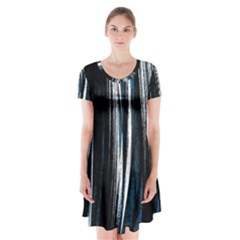 Abstraction Short Sleeve V-neck Flare Dress
