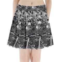 Vintage Newspaper  Pleated Mini Skirt