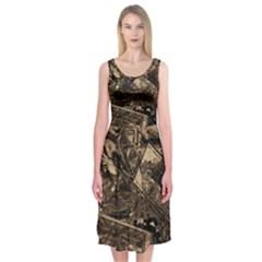 Vintage newspaper  Midi Sleeveless Dress
