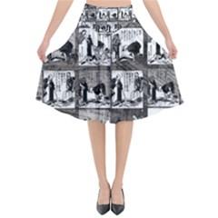 Comic Book  Flared Midi Skirt