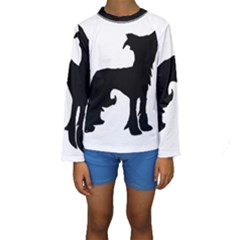 Chinese Crested Silo Black Kids  Long Sleeve Swimwear