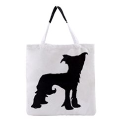 Chinese Crested Silo Black Grocery Tote Bag