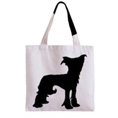 Chinese Crested Silo Black Zipper Grocery Tote Bag