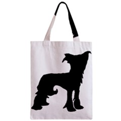 Chinese Crested Silo Black Zipper Classic Tote Bag