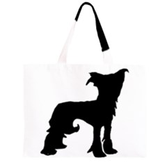Chinese Crested Silo Black Large Tote Bag
