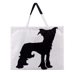 Chinese Crested Silo Black Zipper Large Tote Bag