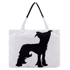Chinese Crested Silo Black Medium Zipper Tote Bag