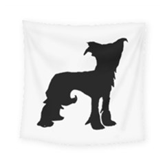 Chinese Crested Silo Black Square Tapestry (Small)