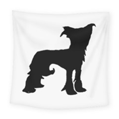 Chinese Crested Silo Black Square Tapestry (Large)