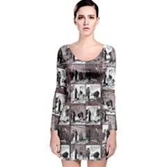 Comic book  Long Sleeve Velvet Bodycon Dress