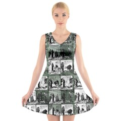 Comic book  V-Neck Sleeveless Skater Dress