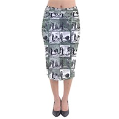 Comic book  Velvet Midi Pencil Skirt