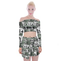 Comic book  Off Shoulder Top with Skirt Set
