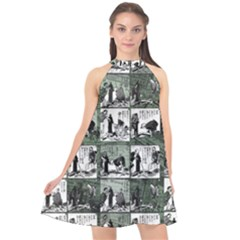 Comic book  Halter Neckline Chiffon Dress