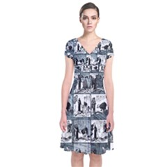 Comic book  Short Sleeve Front Wrap Dress
