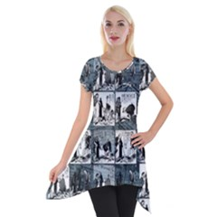 Comic book  Short Sleeve Side Drop Tunic