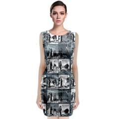 Comic book  Sleeveless Velvet Midi Dress