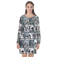 Comic book  Long Sleeve Chiffon Shift Dress