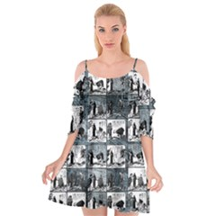 Comic book  Cutout Spaghetti Strap Chiffon Dress