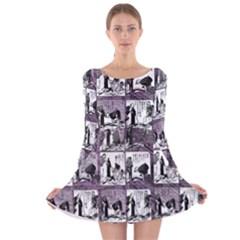 Comic book  Long Sleeve Velvet Skater Dress