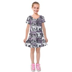 Comic book  Kids  Short Sleeve Velvet Dress
