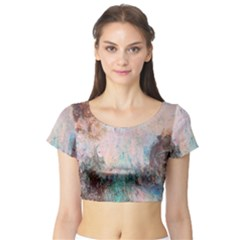 Cold Stone Abstract Short Sleeve Crop Top (Tight Fit)