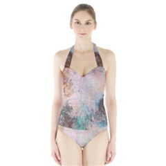 Cold Stone Abstract Halter Swimsuit