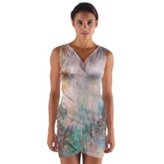 Cold Stone Abstract Wrap Front Bodycon Dress