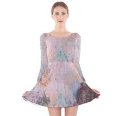 Cold Stone Abstract Long Sleeve Velvet Skater Dress