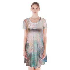 Cold Stone Abstract Short Sleeve V Neck Flare Dress
